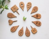 Mini Wood Plant Markers - Alder Wood Assorted Sayings - Unique Gift Tags/Plant Markers
