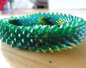 Magical Green Teal Dragon Scale Bangle Bracelet - tattooedraven