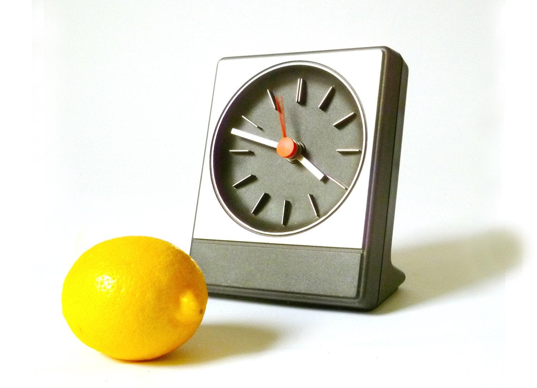 Vintage Mod German Bedside Clock Plastic Black Modern