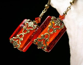 Orange Candy Crystal Pirate Flask Bottle Drop Steampunk Earrings Antique Bronze Filigree Titanic Temptations Vintage Victorian Style Jewelry