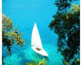 Sailing the Italian Riviera - Mediterranean travel photography, beach, sea, boating, nautical, 8x8 or 12x12 Original Fine Art Photograph