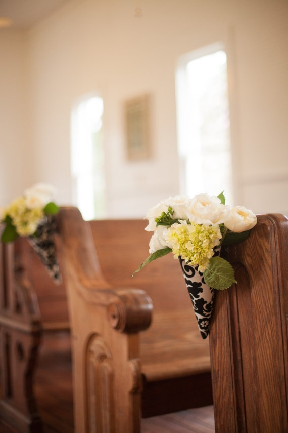 6 Flower Pew Cones In Damask Black And White Wedding
