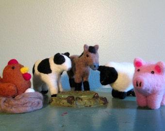 Farm Animal Set - Felted Animals - Felted Farm Miniatures