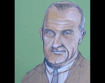 Lyndon Baines Johnson - original drawing