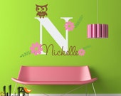Owl and Daisy Monogram - Personalized - Vinyl Wall Decal Sticker Art