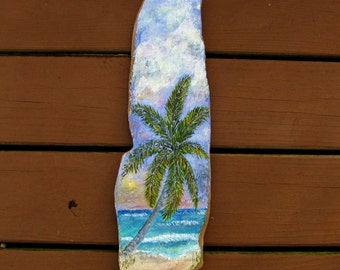 Driftwood Painting Tropical Palm Tree Beach at Sunrise