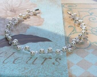 Pearl Wedding HeadBand - Bridal or Bridesmaid Headband -Swarovski Pearl and Crystal - Custom Upon Ordering