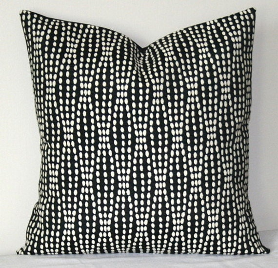 black and white decorative pillow cover waverly strands. Black Bedroom Furniture Sets. Home Design Ideas