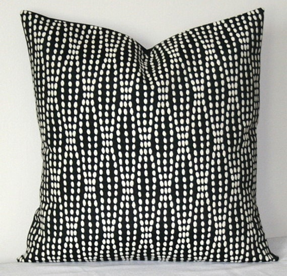 Black And White Patterned Throw Pillows : Black and White Decorative Pillow Cover Waverly Strands