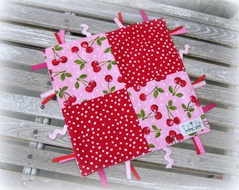 Baby Girl Cherry/ Red Polka Dot Tag Blanket, Sensory Blanket, Ribbon Lovey