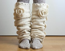 CROCHET PATTERN instant download - Seven League  Leg Warmers - snow white ruffled long creamy unique leggings flower tutorial PDF