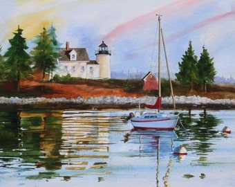 MAINE LIGHTHOUSE --- By Ray LOCKHART---Watercolor ---Watercolor Workshops