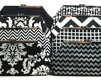 Bridesmaids Clutch Choose Your Fabric Black White Set of 8 Clutches
