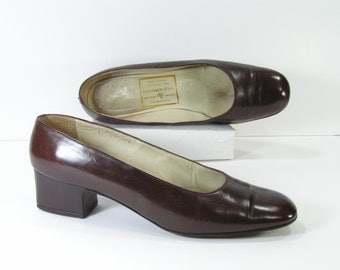 vintage abercrombie & fitch pumps womens 9 m b brown leather high heels italy vintage