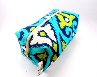 Aqua and Lime Green Ikat  Makeup Bag, Zipper, washable, travel, zigzag,  pencil case, on the go, under 15, orange, yellow, sqaure