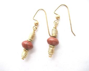 Red jasper and brass earrings