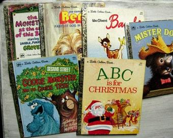 Set of Six Little Golden Books, Instant Collection, Sesame Street, Bambi, Benji, Mister Dog, ABC is for Christmas