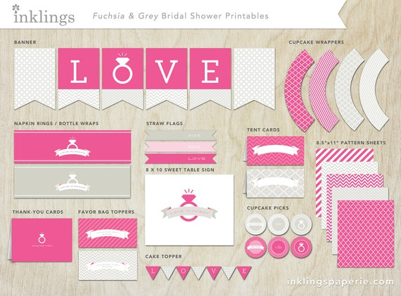 Bridal Shower Decorations Printable Fuchsia Collection