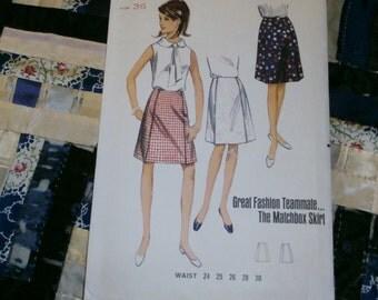 1960s Butterick Matchbox Skirt Pattern 4433 Size Waist 26, Hip 36, Uncut
