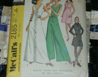 "Vintage 1969 McCall's Pattern 2185 for Misses Dress and Pantdress in Two lengths, Size 10, Bust 32 1/2, Waist 24"", Hip 34 1/2"""