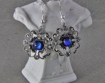 Dichroic Glass and CZs  Earrings Silver Tone Earrings Sterling Silver Hooks