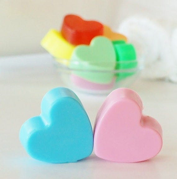 30  BULK MINI HEART Soaps - Choose Scent & Color, diy party favors, baby shower, scented, kids, love, bridal shower, wedding