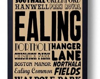 Ealing, London Typography Art Print