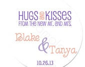 Personalized Trendy Hugs and Kisses From The Mr. and Mrs. Stickers - Wedding Stickers, Favor Labels, Wedding Favor - Choice of Size