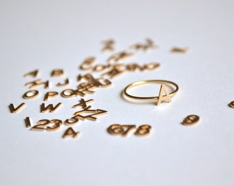 Initial Ring in 14 kt Solid Gold