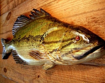 "Large Mouth Bass 34"" chainsaw wood carving sport fishing sculpture taxidermy fish decor wall mount rustic home decor Todd Lynd original art"