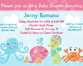 """Personalized/Customized """"Under the Sea/Pink Whale/Seahorse/Octopus"""" Printable Baby Shower Invitation 5x7 U Print yourself"""