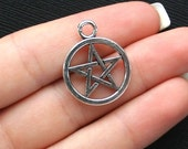 12 Pentagram Charms Antique  Silver Tone - SC1292