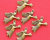 10 Angel Charms Antique Bronze Tone Carrying Star - BC647