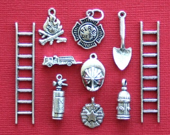 Deluxe Fireman Charm Collection Antique  Silver Tone 10 Charms - COL257