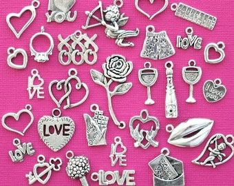 Deluxe Valentine Charm Collection Antique  Silver Tone 30 Charms - COL280
