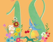 illustrated birthday number or age- illustration art print-can be altered for you!