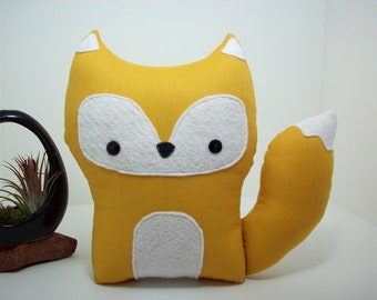 Fox pillow pal plush toy in yellow golden rod