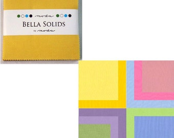 "Moda BELLA 30's SOLIDS 5"" Charm Pack Fabric Squares"