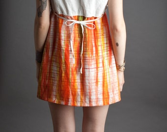 Sleeveless Mini Dress w/Apron Neck