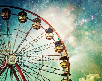 ferris wheel print - carnival decor - magical night sky photography - ferris wheel art