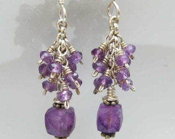 Purple Amethyst gemstone earrings Sterling silver Wire wrapped Dangle Cluster Cube shaped Faceted beads