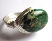 Sea Sediment Jasper Ring Green Wire Wrapped Stone Fashion Jewelry
