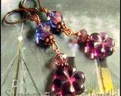 Morning Glory Purple Flower Earrings, in Czech Crystal and Glass, Downton Abbey Earrings in Purple, Purple Czech Flower Earrings
