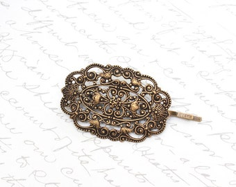 Filigree Bobby Pin Antique Brass Lace Hair Accessories Rustic Vintage Style Shabby Old World Bridal Wedding Fashion Romantic Victorian