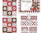 DIY -  Printable: Sock Monkey Baby Shower with blue - Set of 15 Items - Instant Download