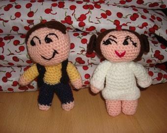 "crochet star wars style dolls han solo and leia princess 6"" sci-fi geek"