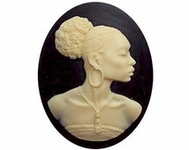 30x40 Silhouette cameo Africa supply African American Cameo jewelry Afro Ethnic jewelry Black cameo diy earrings pins necklace magnets  547x