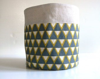 Fabric Bucket -- Stamped Grey and Yellow Triangles with Linen -- Ready to Ship