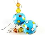Polka Dot Lampwork Earrings, Colorful Glass Bead Earrings, Turquoise Dangle Earrings, Beadwork Earrings, Lampwork Jewelry