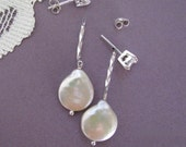 Earring Jackets for Posts or Studs Coin Pearl Silver Bridal Free shipping